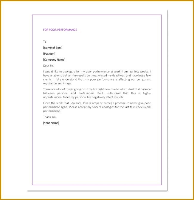 Apology Letter to Boss for Poor Performance 673651