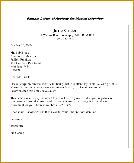 Sample Apology Letter for Missed Interview 678558