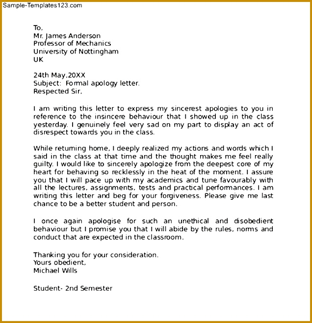 Apology Letter to Parents Template 88893 Example Letter