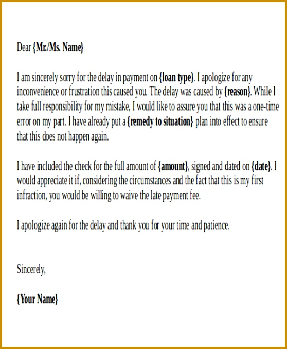 Business Apology Letter for Late Payment 678558