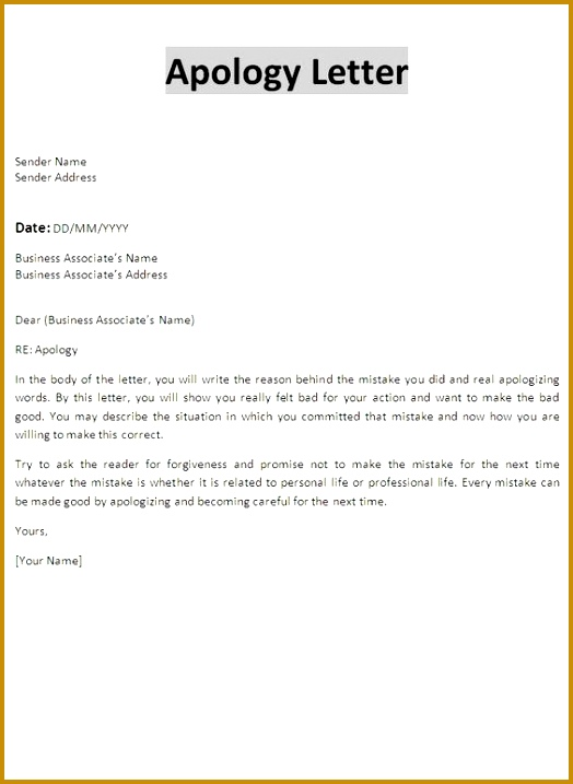 Formal Apology Letter 524717