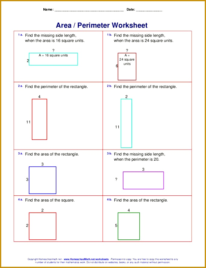 Area and perimeter worksheets rectangles and squares 889684