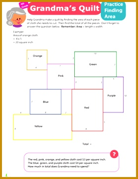 Fourth Grade Geometry Worksheets Practice Finding Area 7 Grandma s Quilt 360279