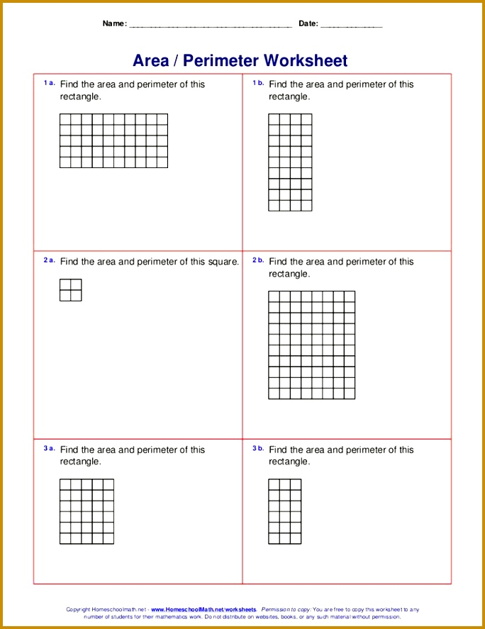 Area and perimeter worksheets rectangles and squares 887684