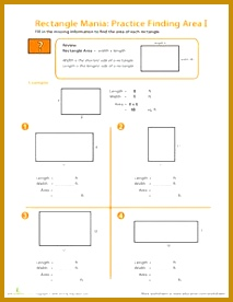 Rectangle Mania Finding Area Worksheet 276213