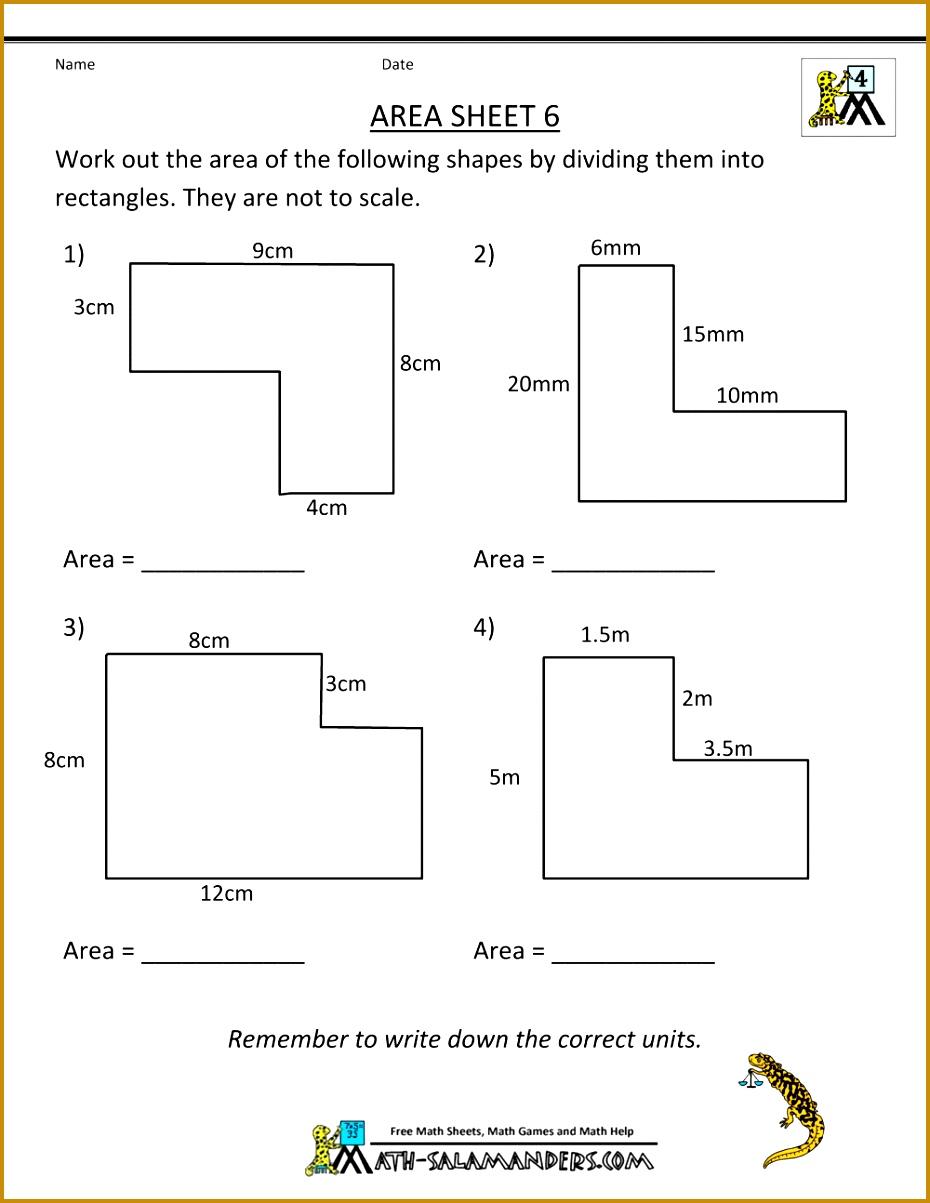 7th grade area and perimeter worksheets 1203930
