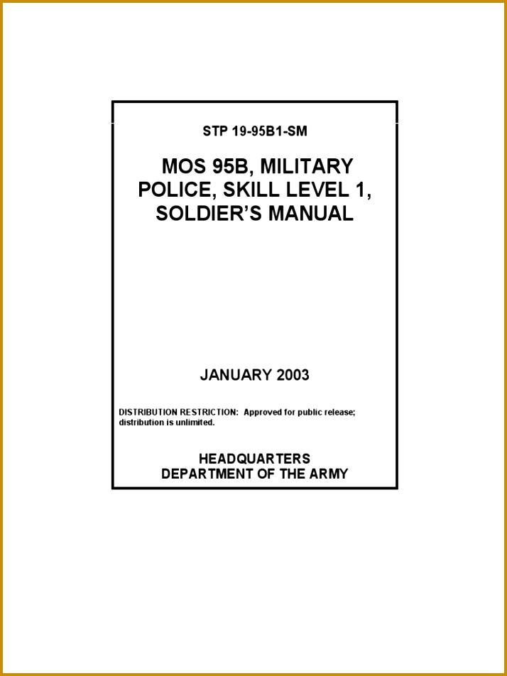 STP 19 95B1 SM MOS 95B Military Police Skill Level 1 2003 Military Police 952714