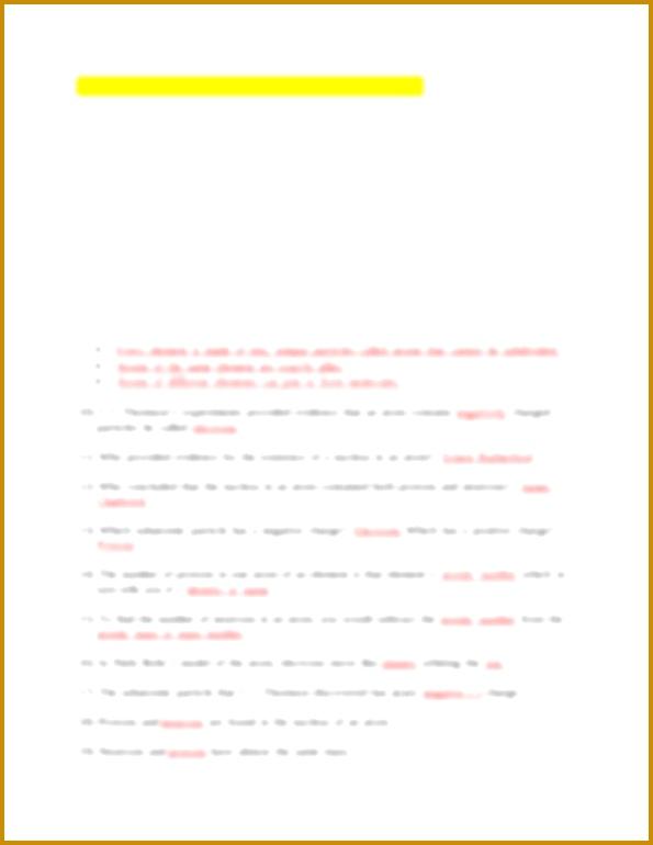 3 atomic Structure Worksheet Answer Key | FabTemplatez