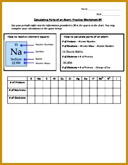 Calculating Parts of an Atom Practice Worksheet 4 325251