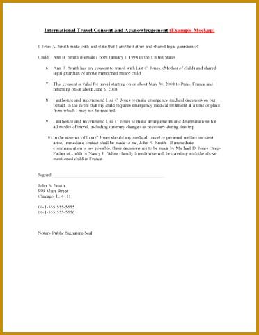 Child Travel Consent Form – International 481372
