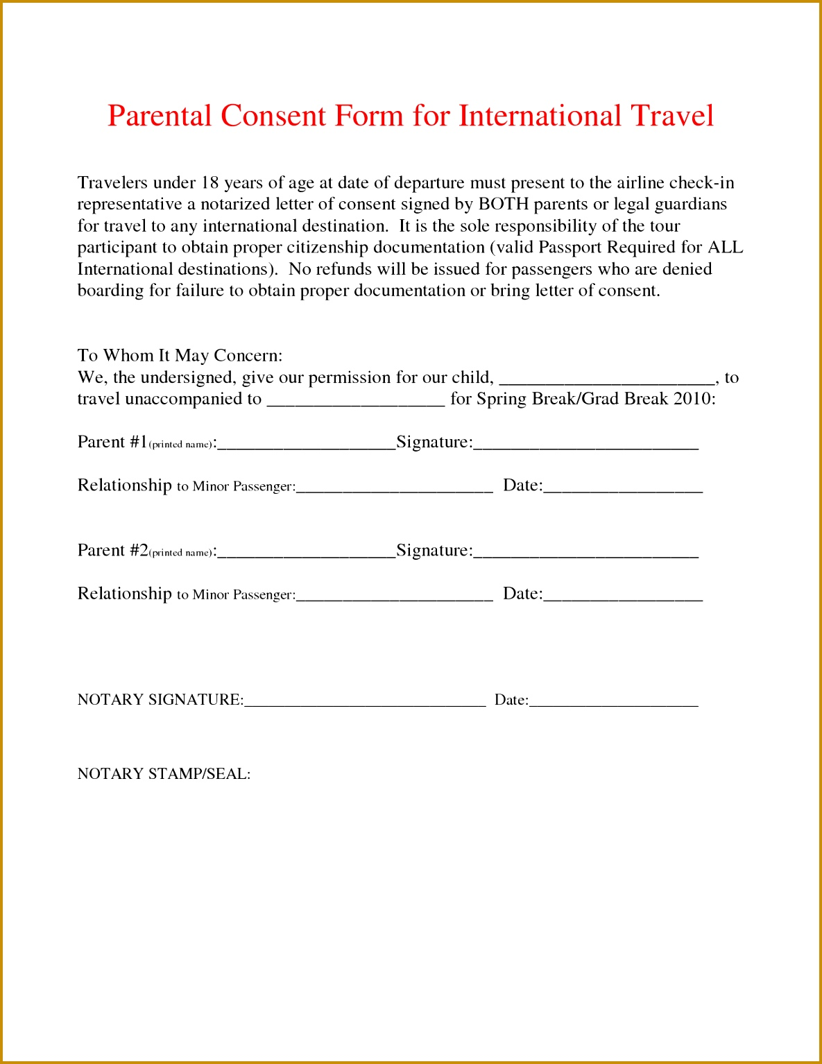 free child travel consent form template best photos of notarized parental authorization letter notarized 15341185