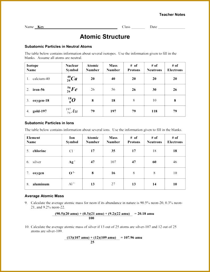 6 Average atomic Mass Worksheet Answer Key | FabTemplatez