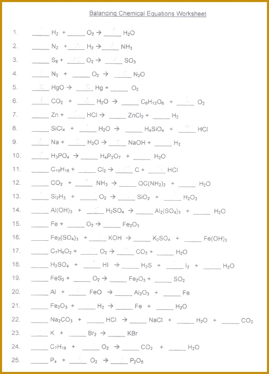 Balancing Chemical Reactions Worksheet With Answers Worksheets For All Download And Free 727524