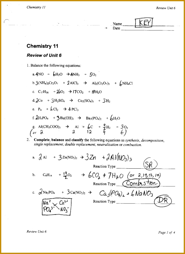 4 Balancing Chemical Equations Worksheet Answers ...