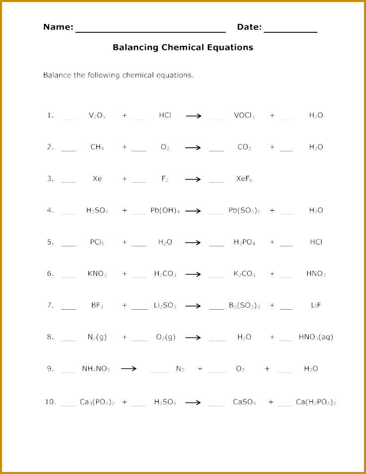 Balance Chemical Equations Worksheet 735952