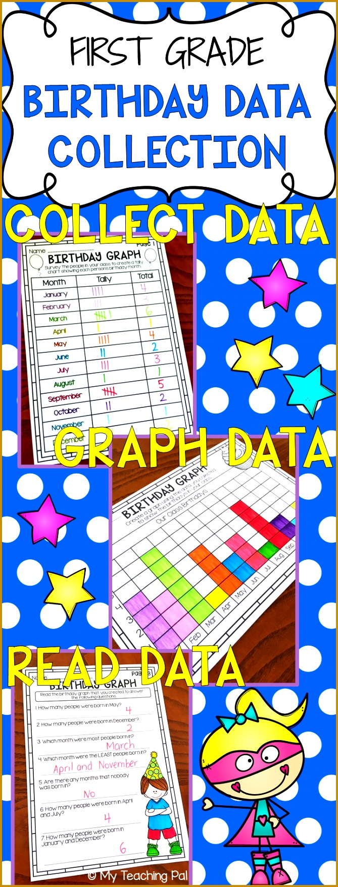 Birthday Bar Graphs and Data Collection for First Grade Printable worksheet pack covering tally marks 1757669
