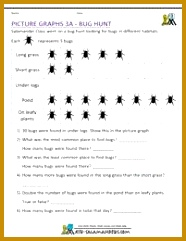 Pictograph worksheets 3rd grade bug hunt A pictograph where each picture represents 5 bugs 241186