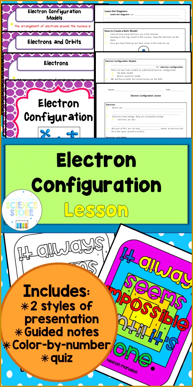 All in one lesson on electron configuration Includes information on electrons and energy Bohr 1249624