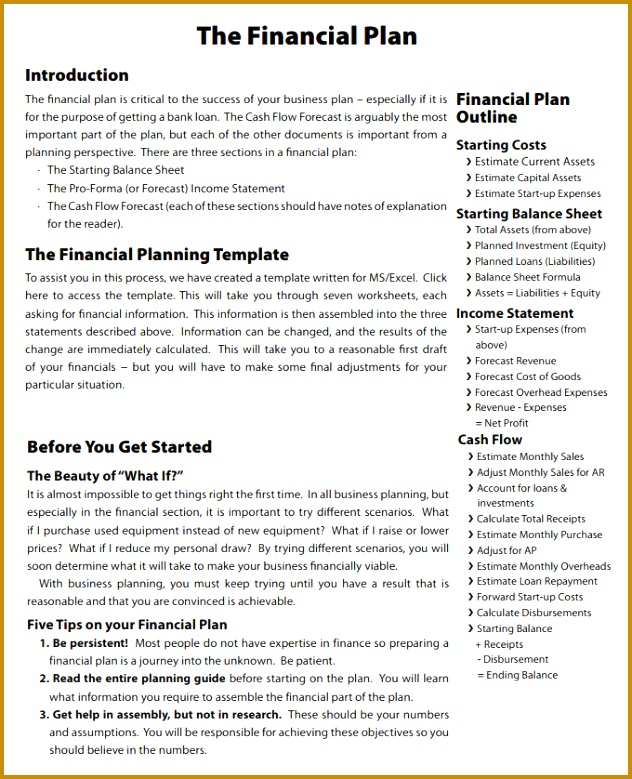 The Financial Plan Template 779632