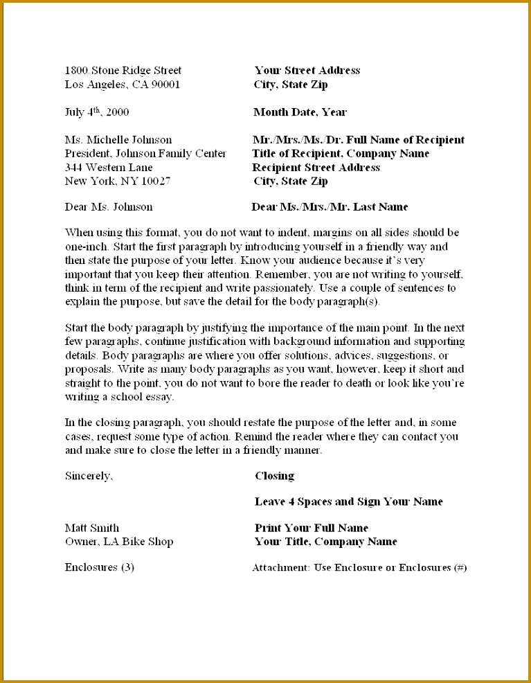 sample business letter format example businessprocess pinterest and 986767