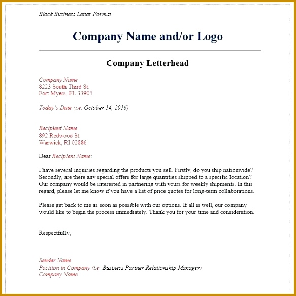 business format letter business letter of re mendation for promotion 583583