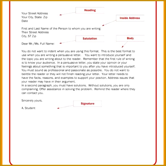 Business Letter Format Template 558558