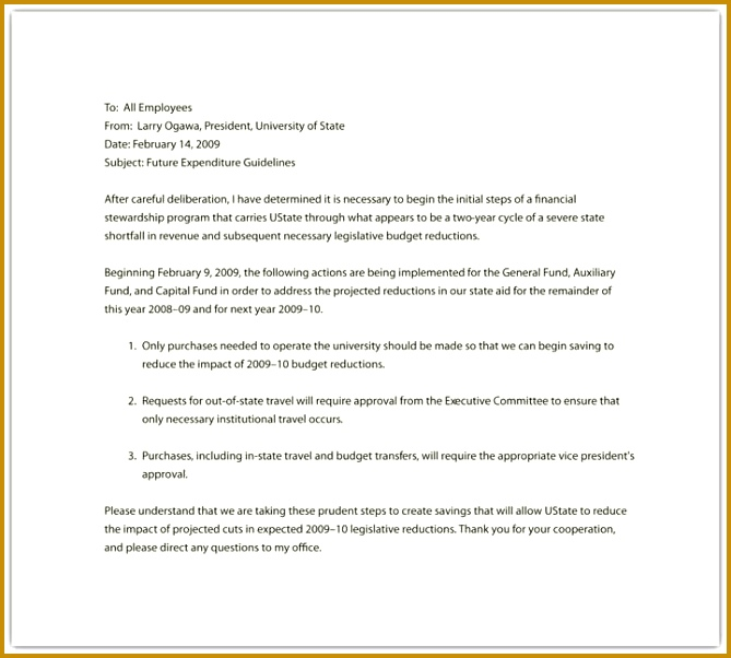 A letter from an employer to their employees 602669