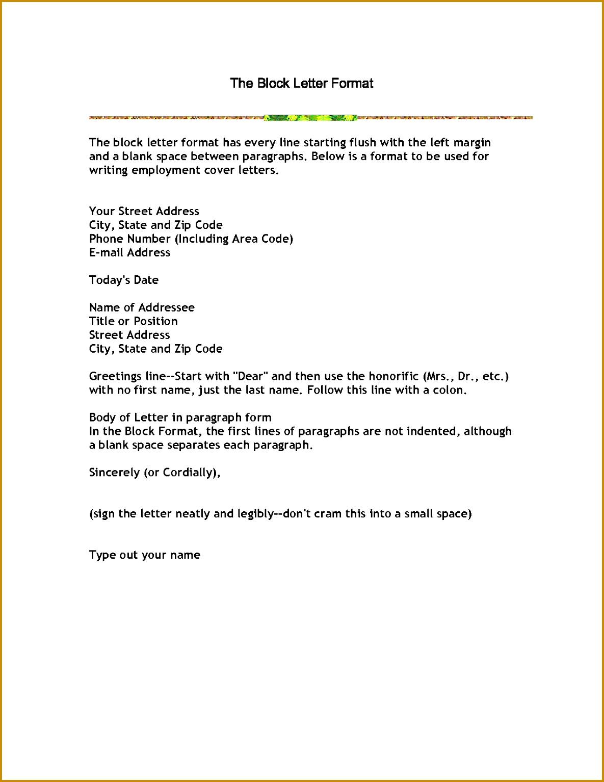 business letter block format template