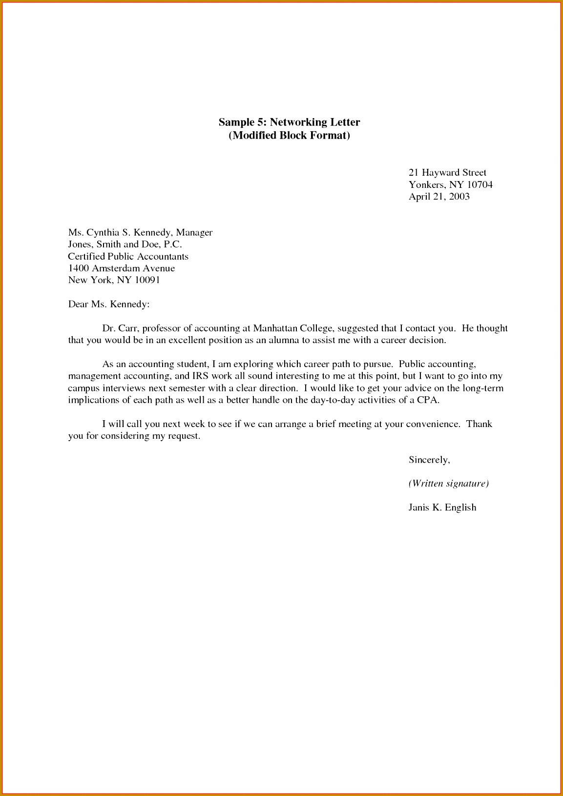 Example Business Letter Modified Block Style 11531631