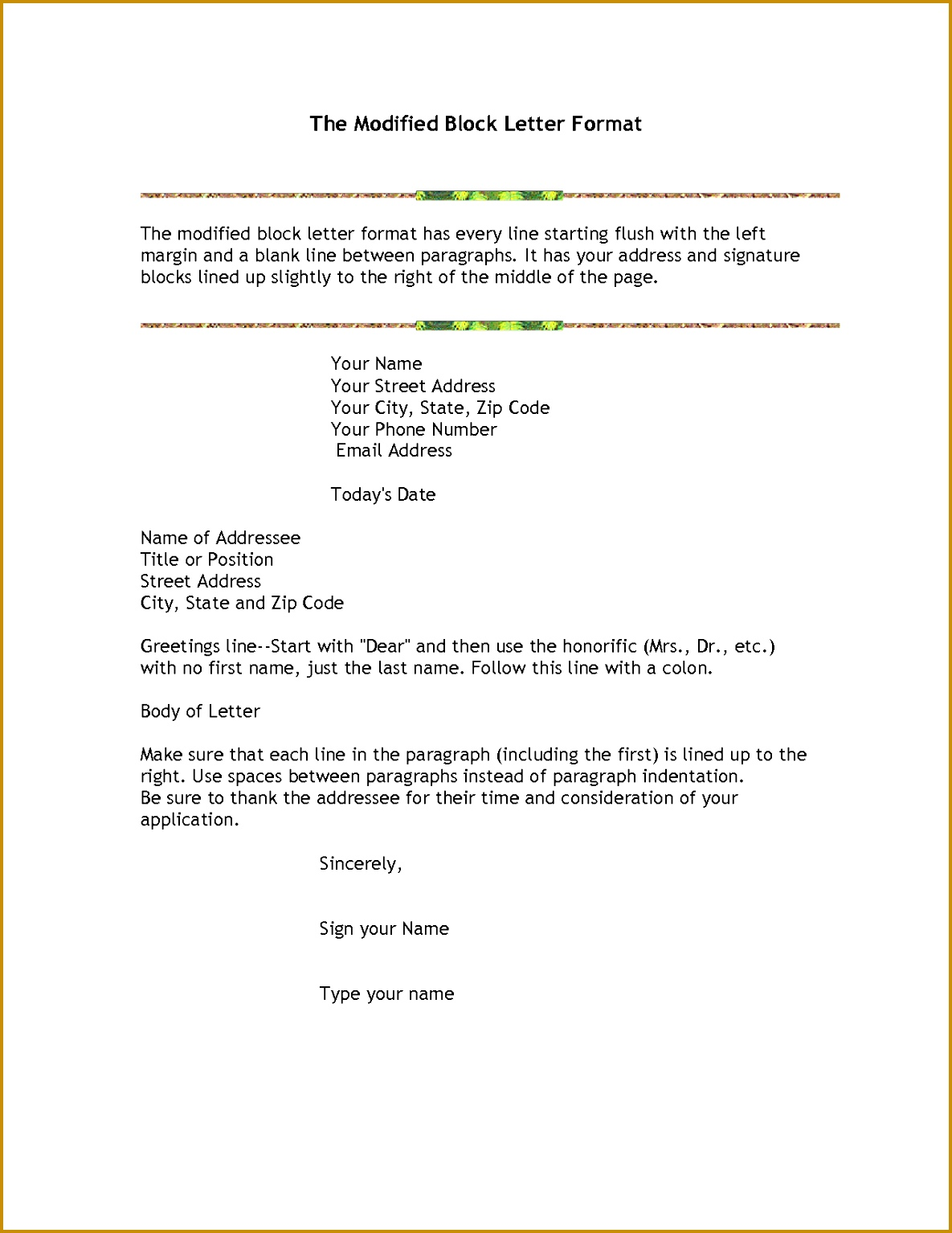 Awesome Collection of Definition Modified Block Style Business Letter About Letter 15341185