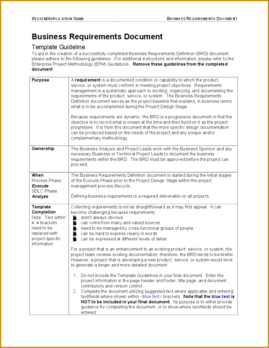 Business Requirements Document Template 31768 Business Requirements