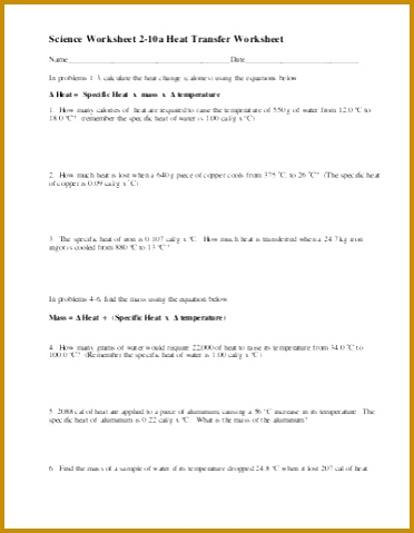3 Calculating Specific Heat Worksheet Answers | FabTemplatez
