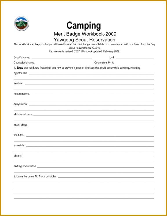 Camping Merit Badge Worksheet 51457 Hiking Merit Badge Worksheet
