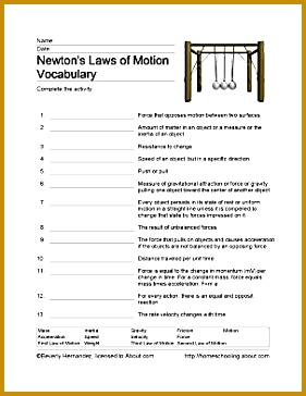 Print the PDF Newton s Laws of Motion Vocabulary Sheet 281364