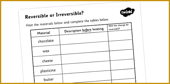 Heating Reversible or Irreversible Activity Sheet 292585