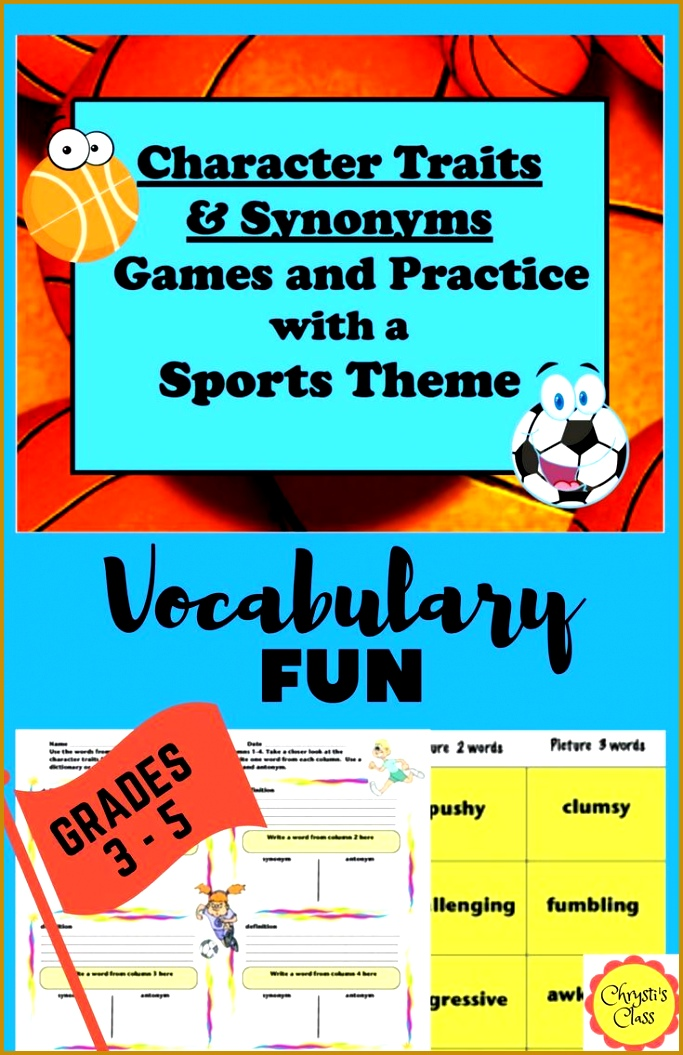 2 easy prep games 24 character traits and synonyms 6 sets of 4 synonyms ranging from easy to challenging to build vocabulary Practice worksheets 1055683