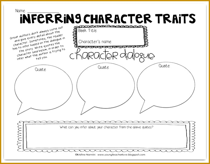 Inferring Character Traits Through Dialogue blog post Plus a Free Graphic Organizer 534684