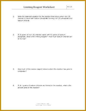 Limiting Reagent Worksheet Everett munity College 429332