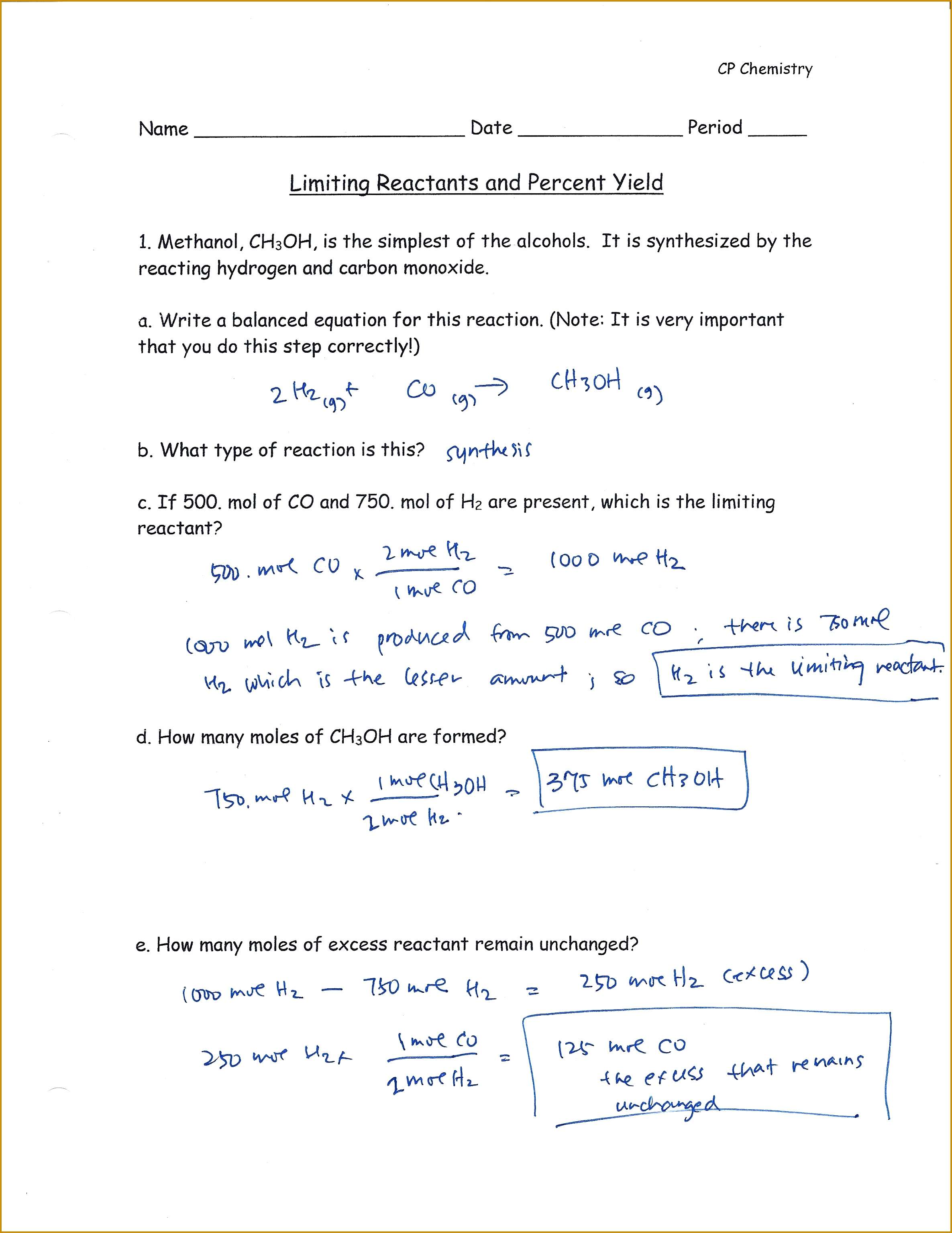 Percent Yield Worksheet Answers Worksheets for all Download and Worksheets 30692371