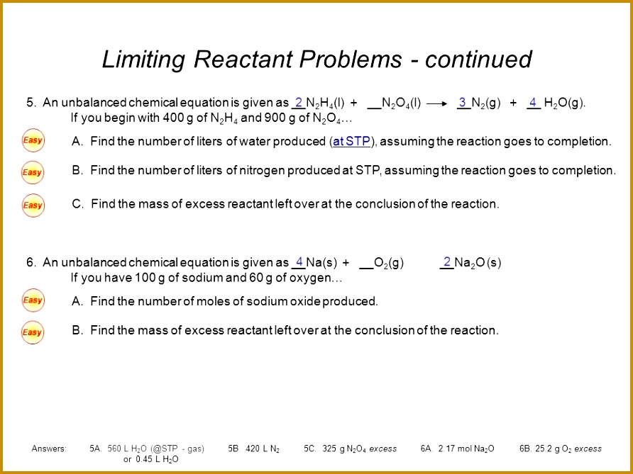 Limiting Reactant Problems continued 669892