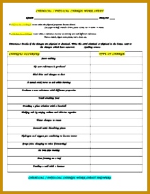 This is a 15 choice worksheet designed to allow students to pare and contrast mon physical to chemical changes 283219