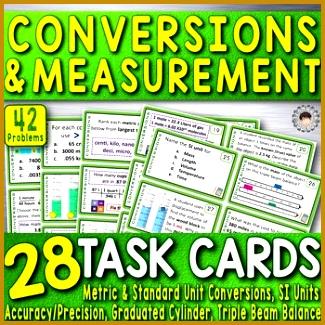 Unit Conversions & Measurement 28 Task Cards 42 Problems Metric & SI Chemistry WorksheetsTask CardsFactors 325325