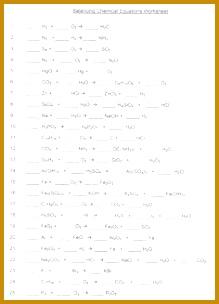 Balancing Chemical Equations Worksheet Answer Key 304219