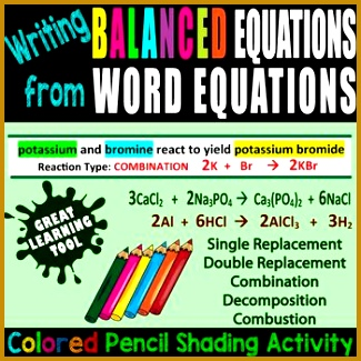 Writing Balanced Equations Word Equations COLORED PENCIL ACTIVITY EDITABLE Chemistry WorksheetsClassroom 325325