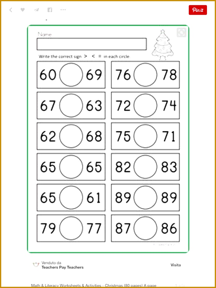Math & Literacy Worksheets & Activities Christmas pages A page from the unit Greater Than Less Than Equal To Also includes worksheets with Christmas 952714