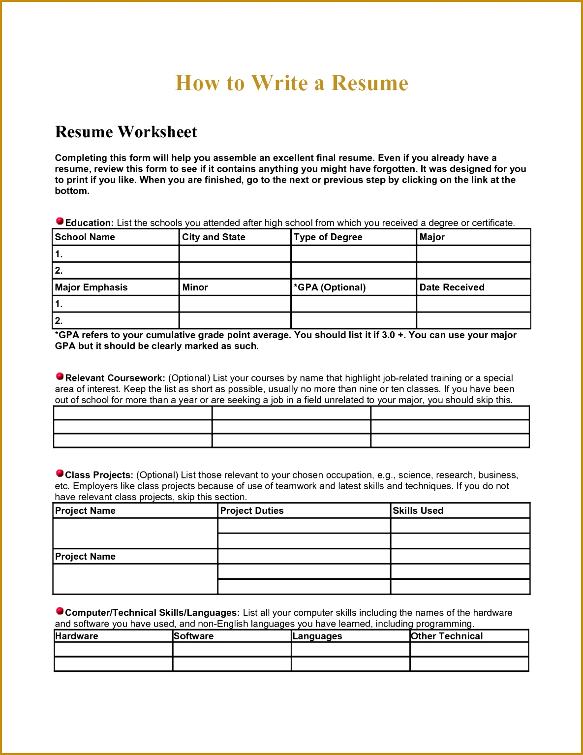 resume worksheet using your academic experiences high school building for teens 15341185