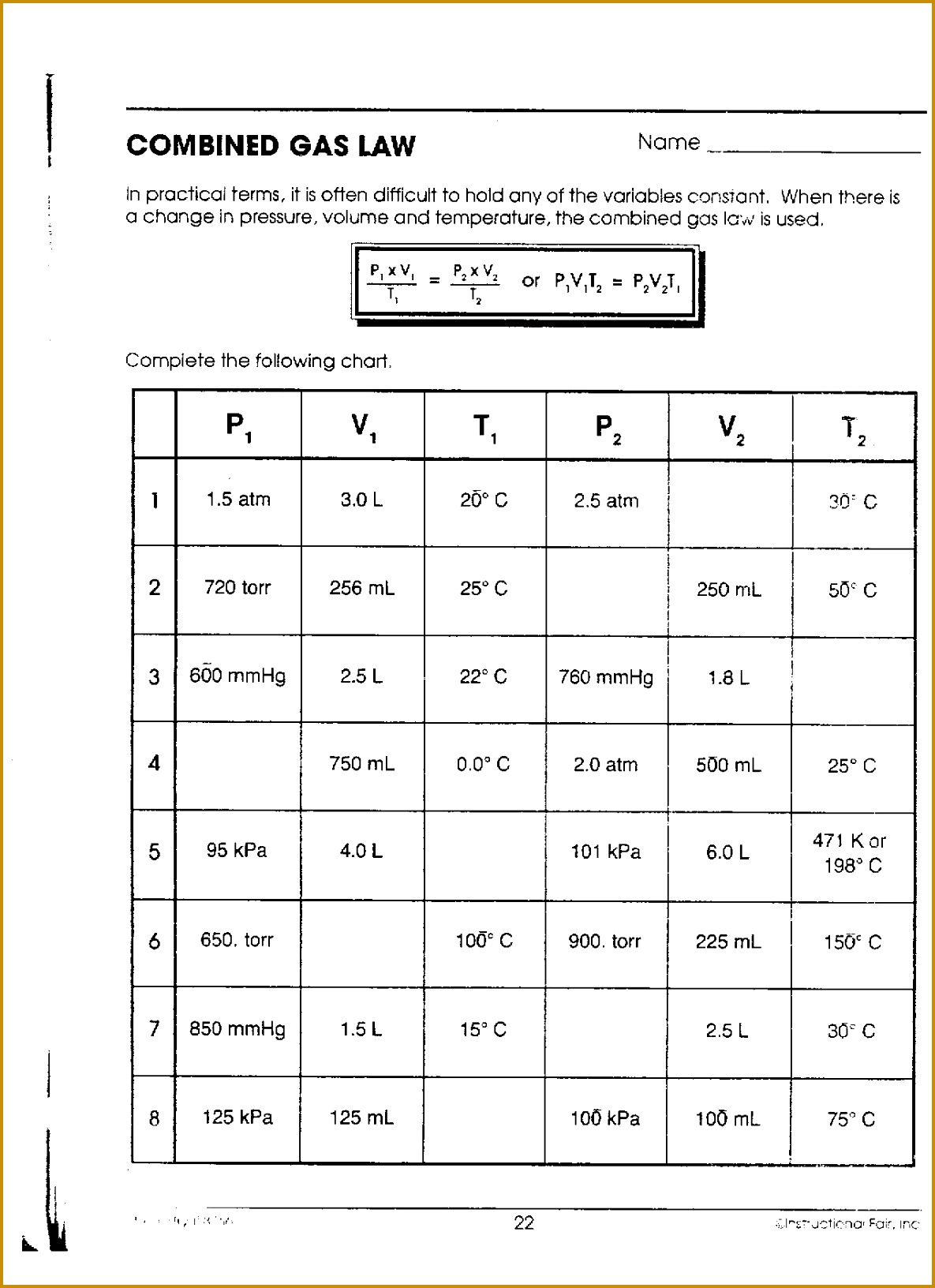 3 Combined Gas Law Worksheet Fabtemplatez