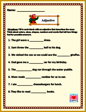 Adjective Fill In The Blank Worksheet 5 page of 8 sentences 372287