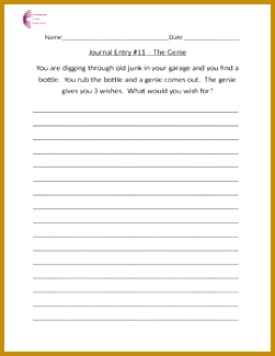 Journal Writing Prompt The Genie Journal Writing Prompts Journals Worksheets mon Cores 325251
