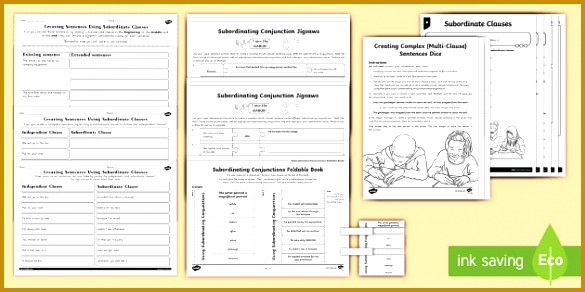 Main and Subordinate Clause Activity Sheet Resource Pack 292585